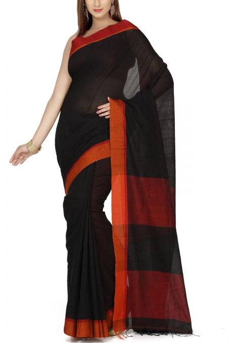Black & Red-Orange Hand Woven Cotton Saree