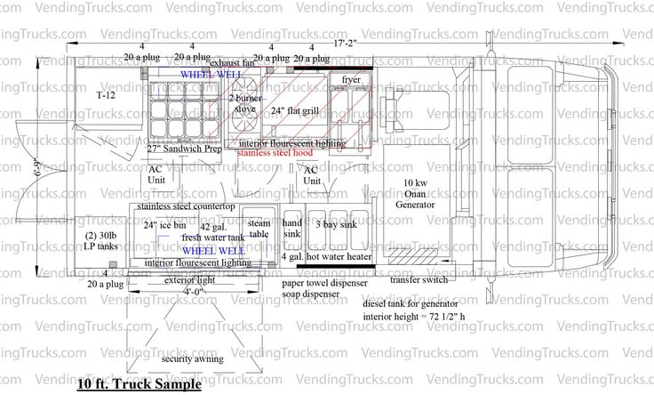 Free blueprint for food trucks food truck floor plans for Food truck blueprints