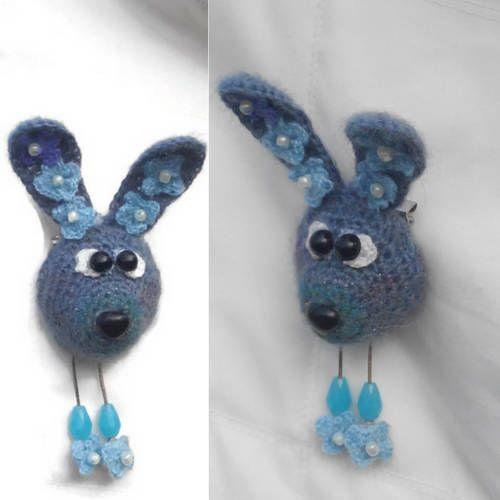 Crochet Brooch Bunny Christmas Gift Handmade Brooches