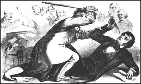 Charles Sumner was an ardent abolitionist that insulted the honor of Preston Brooks' cousin Andrew Butler. In response, Brooks attacked Sumner with a cane in the US House of Representatives so savagely that Sumner ripped his desk, which was nailed down, out of the floor. Northerner's responded by leaving Sumner's seat symbolically open and Southerner's sent Brooks large numbers of new canes. The whole incident was just another sign of how polarized the nation had become.