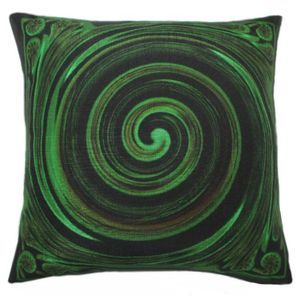 #throw pillows. Koru Symbol - Cool Cushions by Chelsea Design NZ. The Koru symbolises New Beginnings, New Life, Growth, Peace and Harmony. New Zealand Art reproduced onto a lovely linen look and feel cushion. The perfect gift for any occasion. 45cmx45cm Machine washable 100% polyester.Concealed zip.  Cushion cover on its' own or supplied with 400gm scatter tigerfil inner.