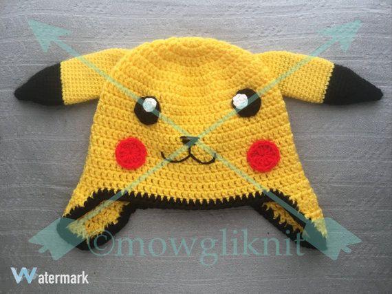Pikachu Pokémon Inspired Beanie Hat by MowgliKnit on Etsy