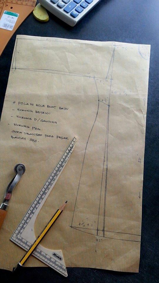 Pola utk 3 jenis baju kurung. Cuma perlu ubah pesak bawah
