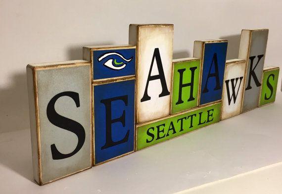 Seahawks Sign Wildcats Word Blocks - Seattle Wooden Block Set - Seattle Seahawks Shelf Sitter - football Father's Day gift