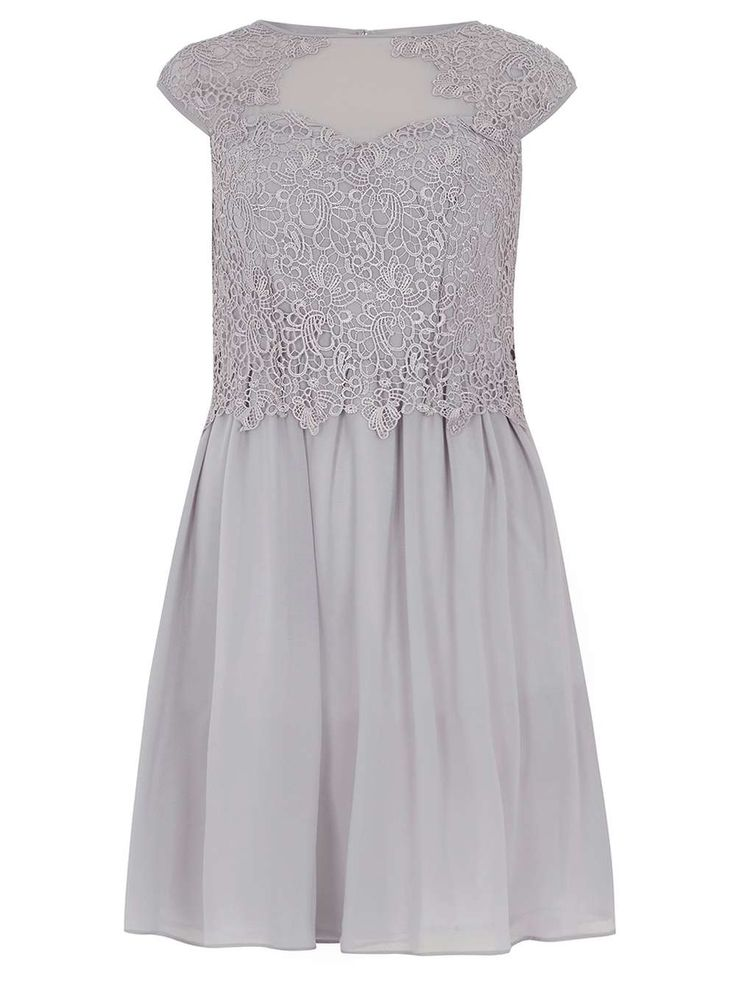 Dorethy Perkins | Showcase Grey Lace Detail Prom Dress | £55