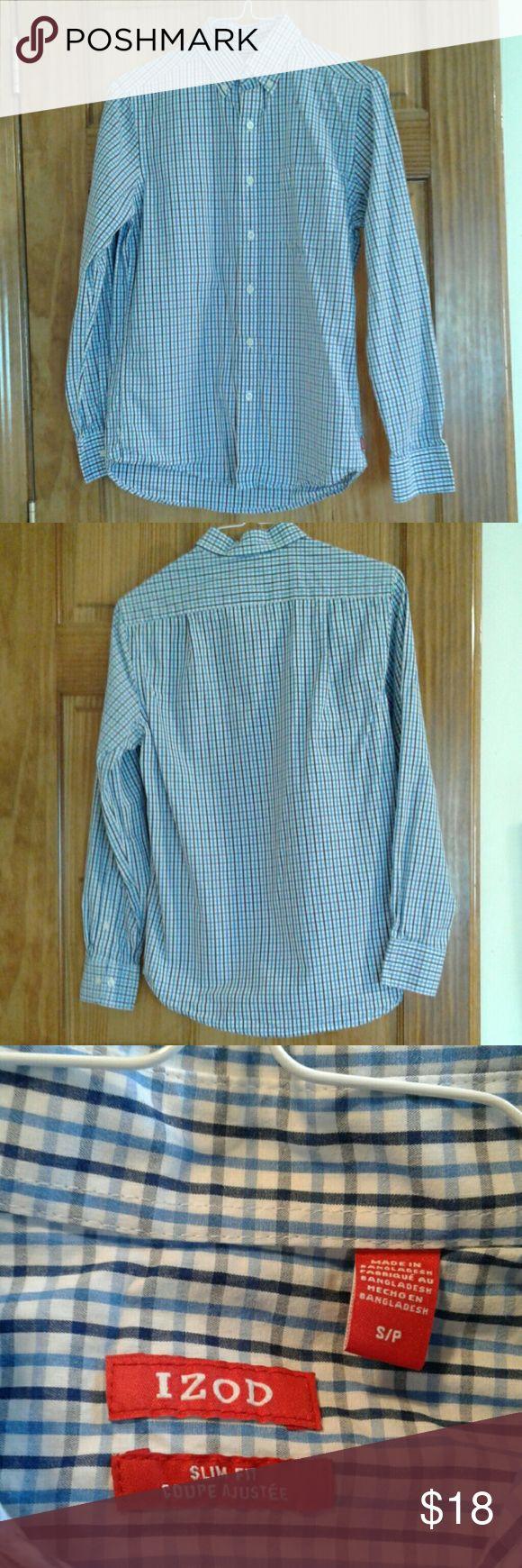 Izod men's plaid  shirt slim fit small Izod men's plaid shirt slim fit small 100% cotton Izod Shirts Casual Button Down Shirts