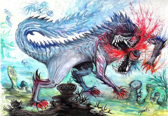 Monster Hunter World Iceborne Impresion Original De La Pintura De