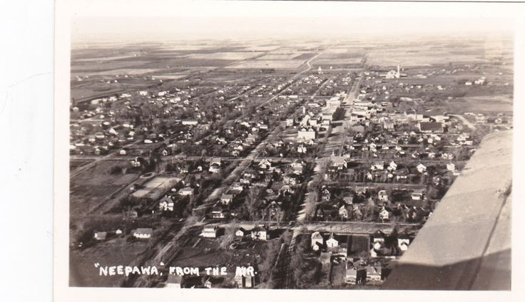 """RP: """"NEEPAWA"""" from the air , Manitoba , Canada , 10-20s"""