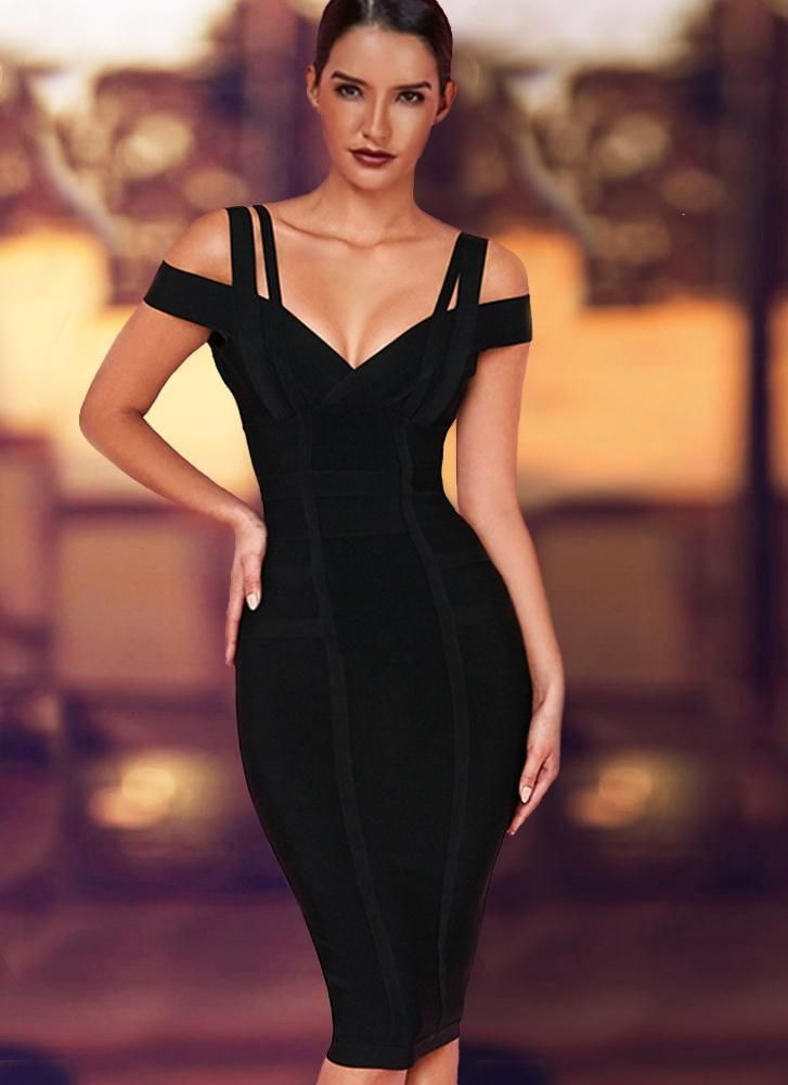 345b4e4929ebf Chanel Off Shoulder Bandage Dress- Black in 2019 | Fashion | Dresses ...