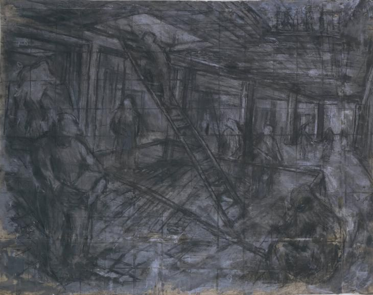 Artist;Leon Kossoff born 1926 Title;Building Site, Oxford Street Date;1952 Medium;Crayon, charcoal and gouache on paper Dimensions;Unconfirmed: 1120 x 1335 mmLike his close friend Frank Auerbach Kossoff was fascinated by building sites during the 1950s. These abounded in London as its bomb-damaged fabric was rebuilt after the war. Perhaps they stood for the transient and ever-changing nature of the modern city. They were also places where the earth beneath the city was revealed.