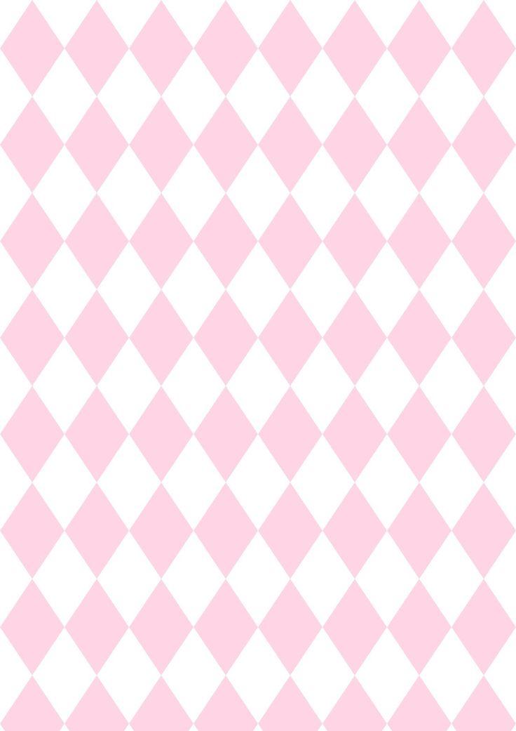 FREE printable harlequin pattern paper | pink white