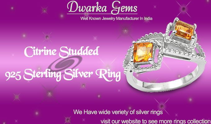 Buy This Citrine Studded 925 Sterling Silver Ring From Dwarkagems.com