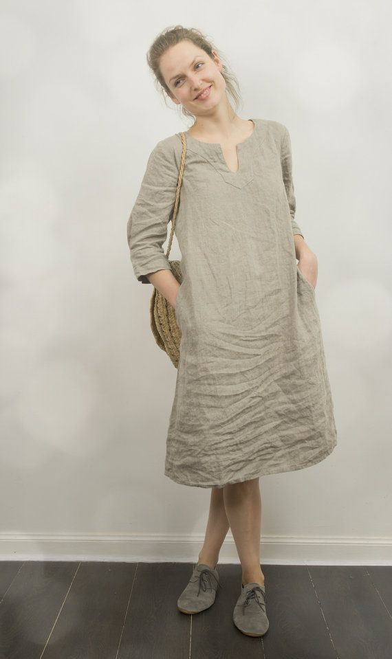 LINEN TUNIC DRESS /custom length от KnockKnockLinen на Etsy