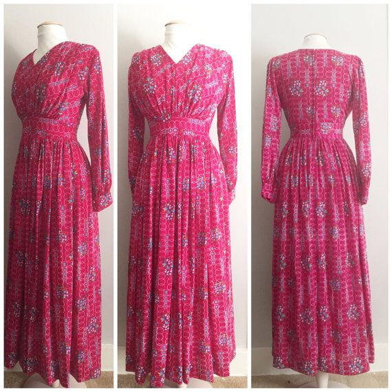 Fuchsia Floral Vintage Dress // Vintage Gown // by HeartsAndHearts