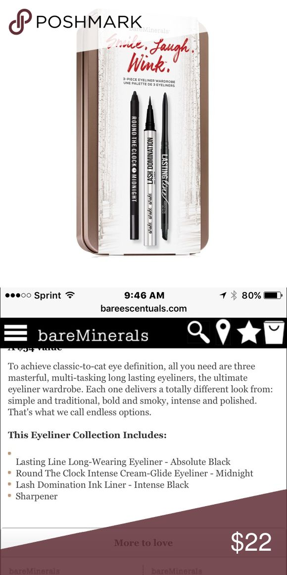 """Brand new un opened Bareminerals liner! Unopened brand new """"smile laugh wink"""" eyeliner collection for bare minerals. Please see photo for exact color description. Ordered from website. Price is less than website. bareMinerals Makeup Eyeliner"""