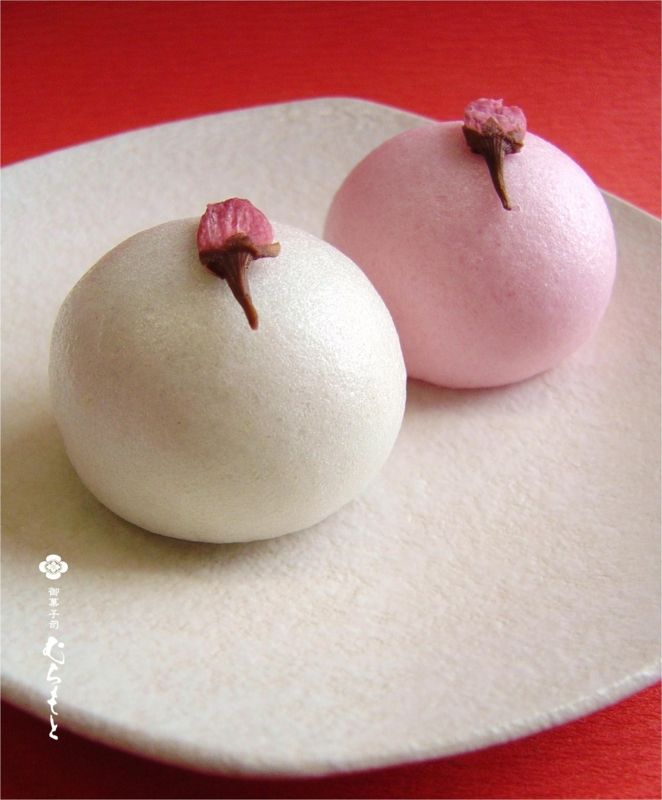 Japanese Sweets for Celebration (Steamed buns with bean paste fillings and salted cherry blossoms) 桜上用饅頭