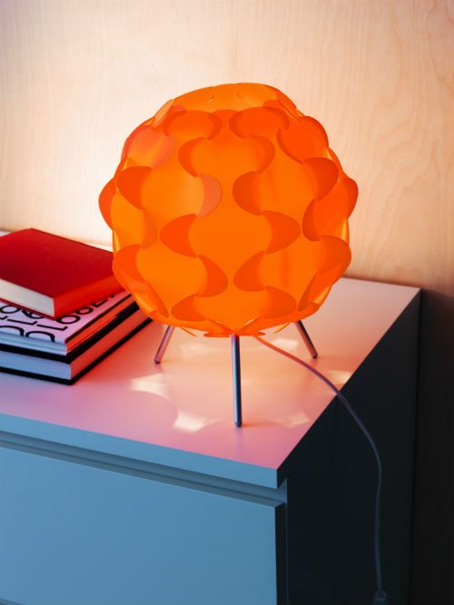 Revive a room and add color simply by plugging in a decorative IKEA lamp on a side table, windowsill or shelf.