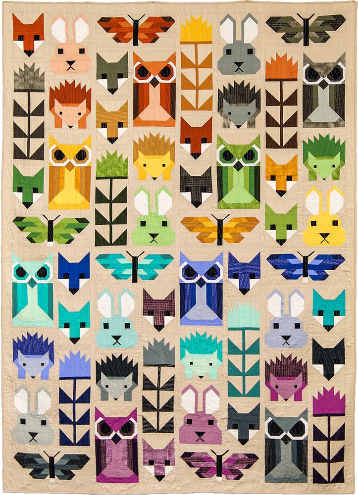 The Fancy Forest quilt pattern is an animal sampler quilt featuring all your favorite pieced animal blocks by Elizabeth Hartman including Fancy Fox, Hazel Hedgehog and newcomer Frances Firefly.