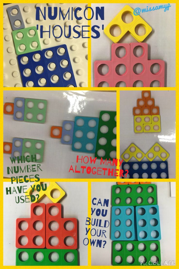 From an idea on Pinterest, Numicon houses. Children count the pieces then build with them. They then calculate how many there are altogether.  (missamyp)