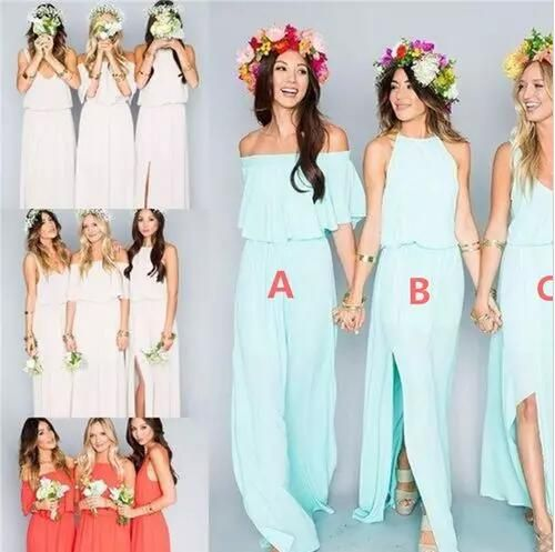 2018 Summer Beach Bohemian Bridesmaid Dresses Long Mixed Style Chiffon Split Side Slit Custom Made Maid Of Honor Bridesmaids Gowns