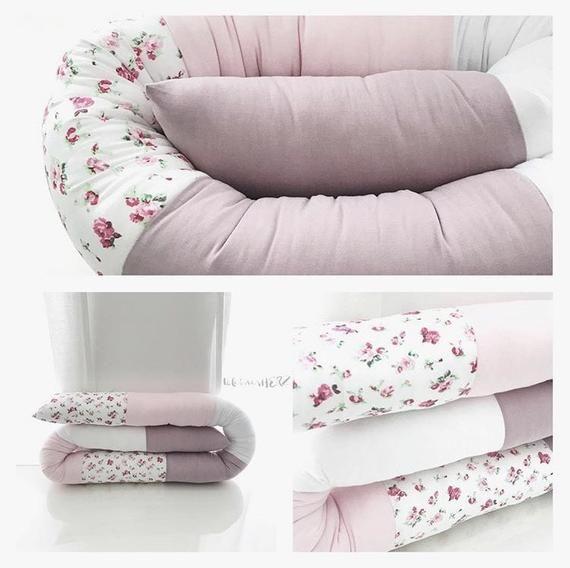 Bettschlange Stoffschlange Rosa Altrosa Weiss Blumen Bettschlange Kissen Baby Kind Madchen Babybett Crib Bumper Play Corner Fabric Elements