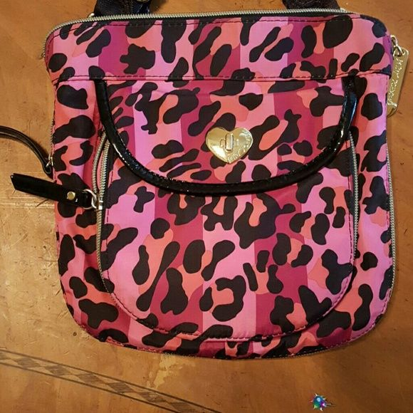 Crossbody Betsey johnson Pink peach and black leopard print canvas crossbody bag .... worm only a few times in brand new condition pockets unzip to expand Betsey Johnson Bags Crossbody Bags