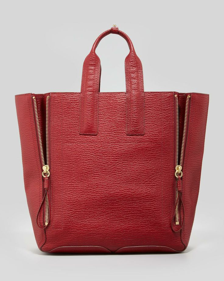 Red Tote with Double Zipper Front.