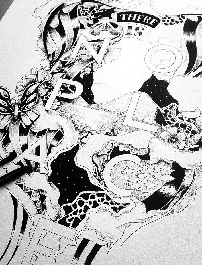"""Emanuele Ricci - drawing 2016 - """"No place"""" - Work in progress"""