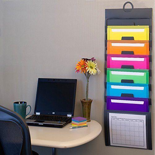 Office Wall Organizer Document Pockets Cascading Colored Durable Home School   #OfficeWallOrganizer