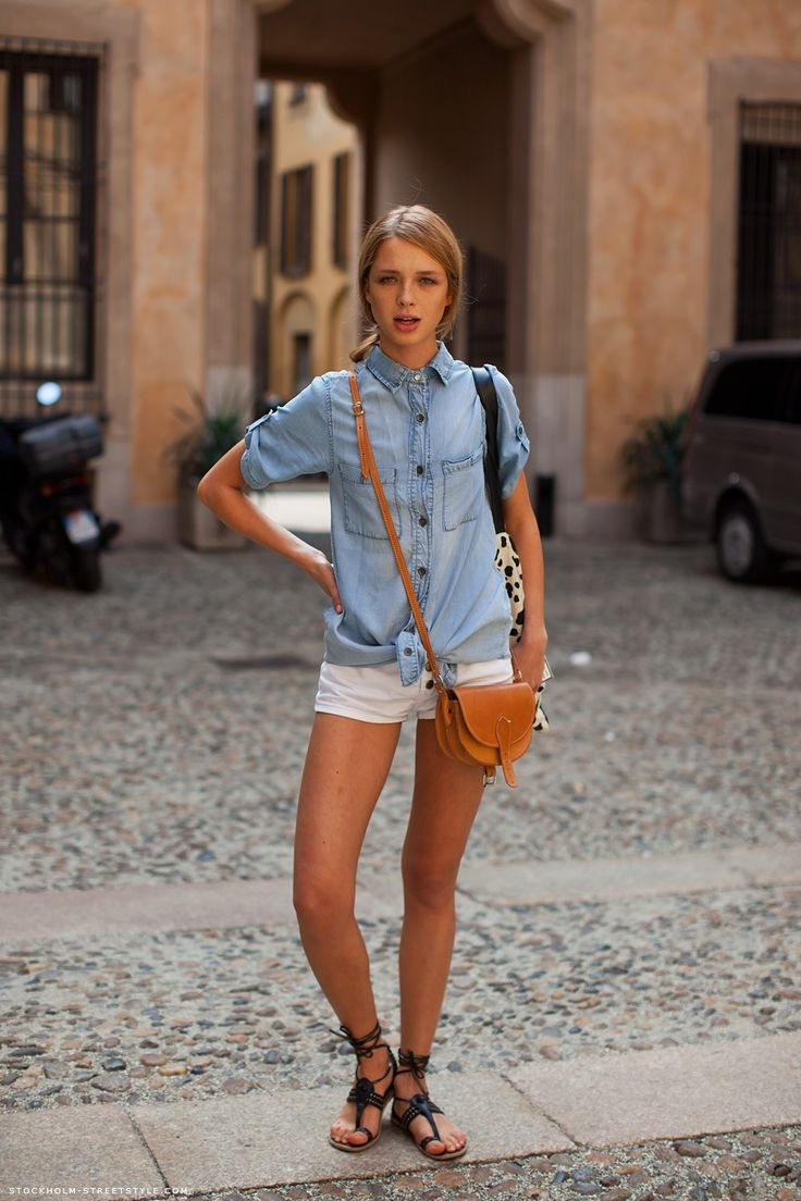Chambray + Leather: Short, Women S, Outfits, Spring Summer Fashion, Summer Style, Clothes, Street Style, Denim Shirts, Fashion Inspiration