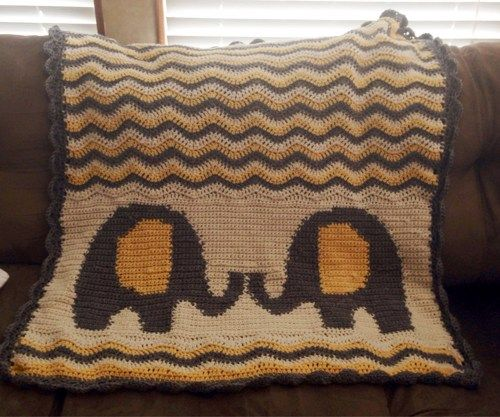 Baby Elephants Ripple Crochet Blanket Crib Toddler