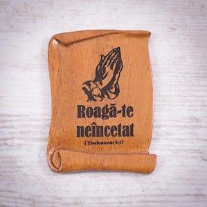"Tablou din lemn ""Roaga-te neincetat"". #woodenboard"