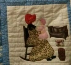 "My quilt block from the book: ""Bonnet Girls-Patterns of the Past"" by  Helen R. Scott.these pictures do not do the quilt justice.hope to have better ones by end of year."