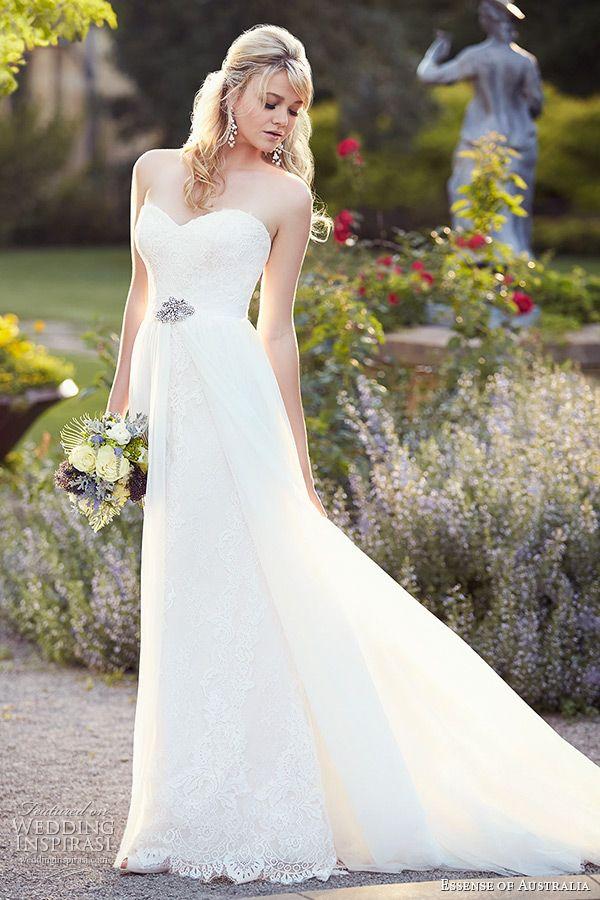 essense of australia wedding dress 2015 bridal strapless sweetheart neckline vintage over skirt a line gown d1809