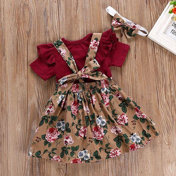 Toddler Infant Baby Girl Outfit Sets Letter Romper Tops+Ruffled Suspender Skirt Dresses