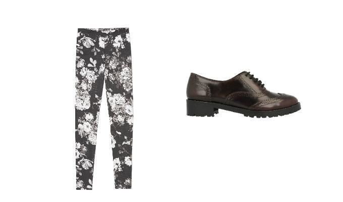 Look con pantalón de flores victorianas y oxford marrones Gioseppo en Cosmopolitan.