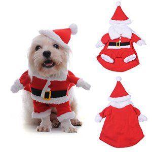 WIDEN ELECTRIC Chien de Noël vêtements pour animal de compagnie vêtement imprimés 3D Noël Santa Claus Costume avec chapeau