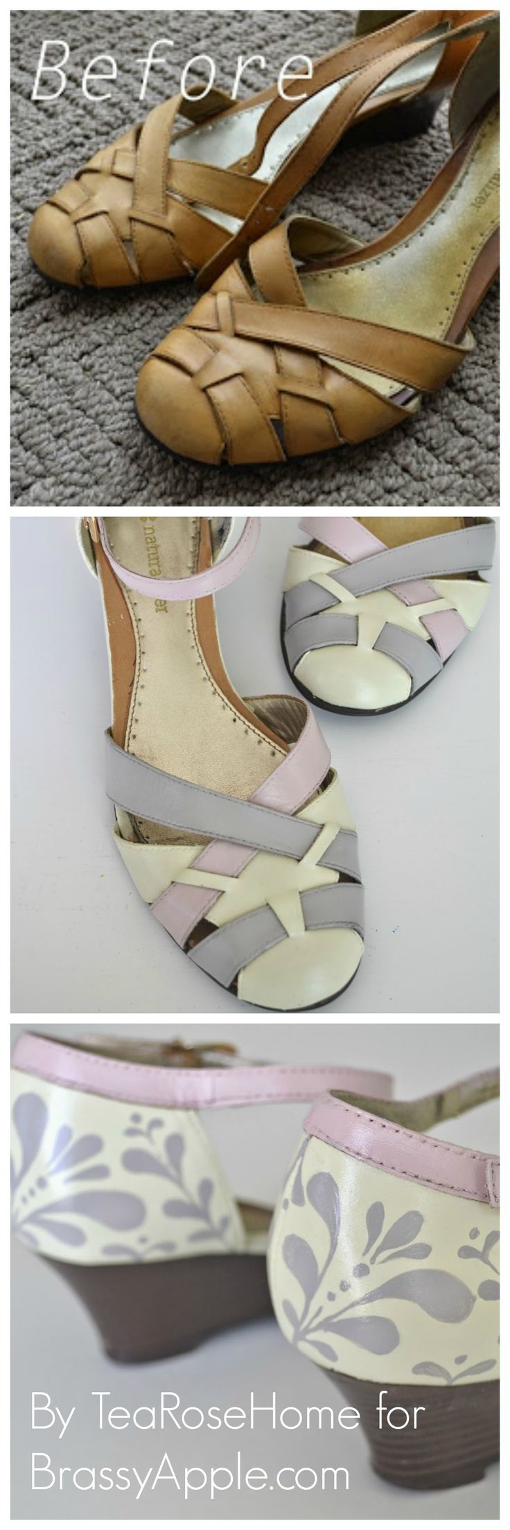 Refashion sandals or shoes with paint from @Sachiko Asai Asai Aldous on BrassyApple.com #paint #makeover #fashion