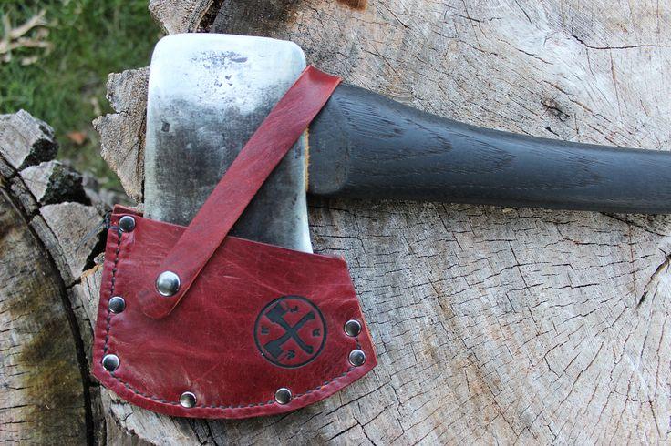 Restored Vintage Unmarked Felling Axe - 3.5lb, 28 - custom leather sheath & Yakisugi / Shou Sugi Ban handle - NWAL#ax044