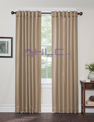"""HLC.ME Solid Thermal Insulated Back-Tab/Rod-Pocket Blackout Window Curtain Panels - Taupe - 54""""W x 84""""L - Set of 2 Panels"""