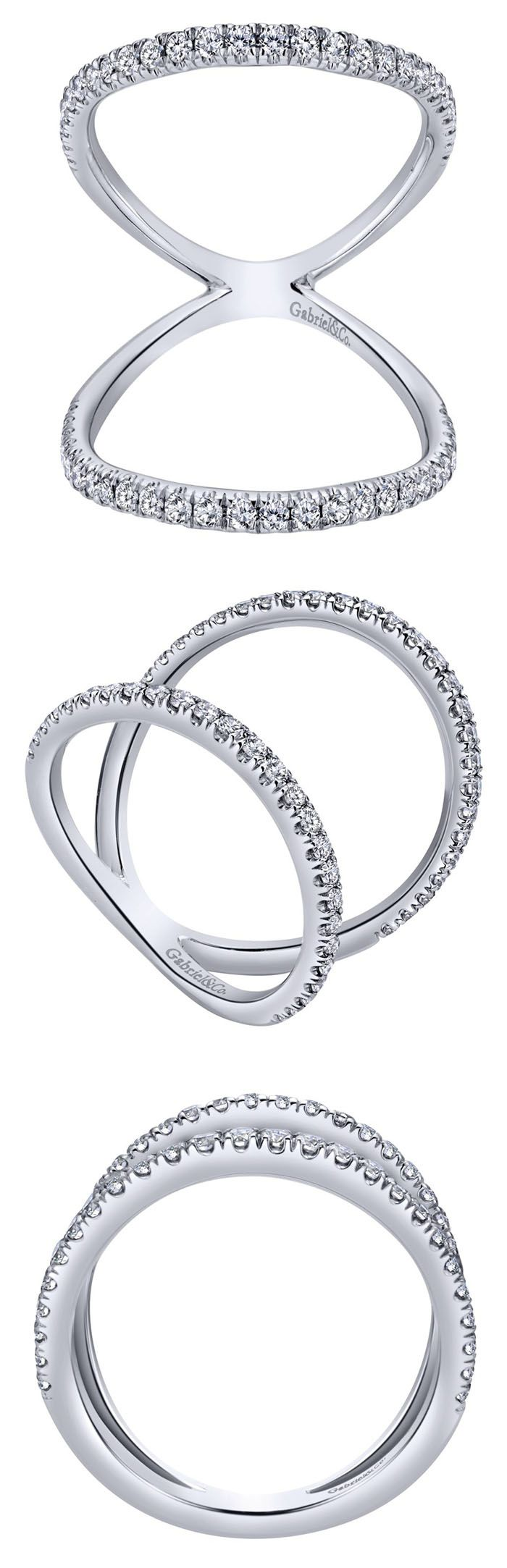 A simple but intricate 14k White Gold Diamond Ring from Gabriel & Co. We love the style of this daring designed ring and looks absolutely stunning on! Find your local retailer and more of our daring designs on our website www.gabrielny.com