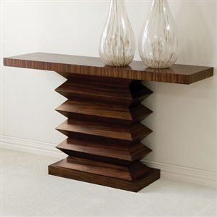 Layered Wooden Zig Zag Transitional Console Table - X-2622-VLG