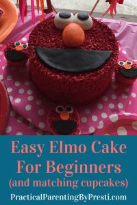 Easy Elmo Cake with matching Elmo cupcakes.