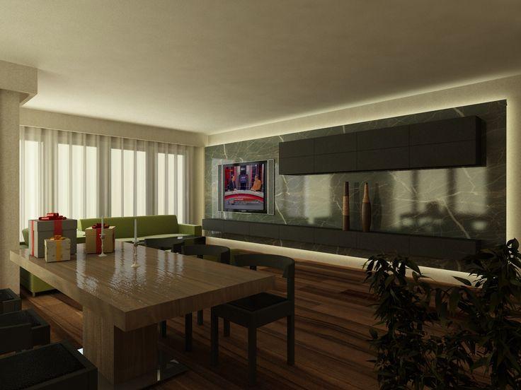 #livingroom #house #tvunit #modern #stone #wood