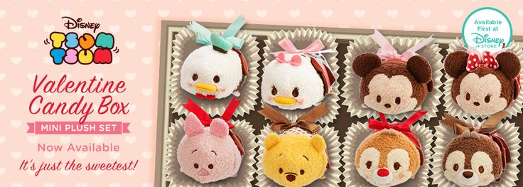 Disney Tsum Tsum - Valentine Candy Box - Mini Plush Set - Now Available - It's just the sweetest! - Available first at Disney Store