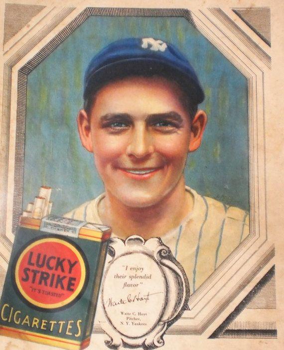 Waite Hoyt NY Yankee Ad Baseball Star Lucky Strike Cigarette Advertisement 1920s Christmas Gift for Men Sports Memorabilia Magazine Wall Art