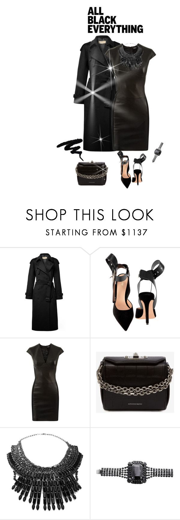 """outfit 7296"" by natalyag ❤ liked on Polyvore featuring Burberry, Intermix, La Perla, Alexander McQueen, Tom Binns and allblackoutfit"