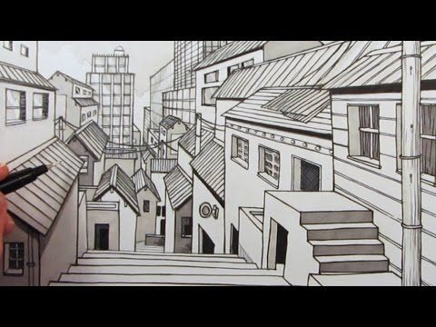 How To Draw A City Using One Point Perspective Narrated