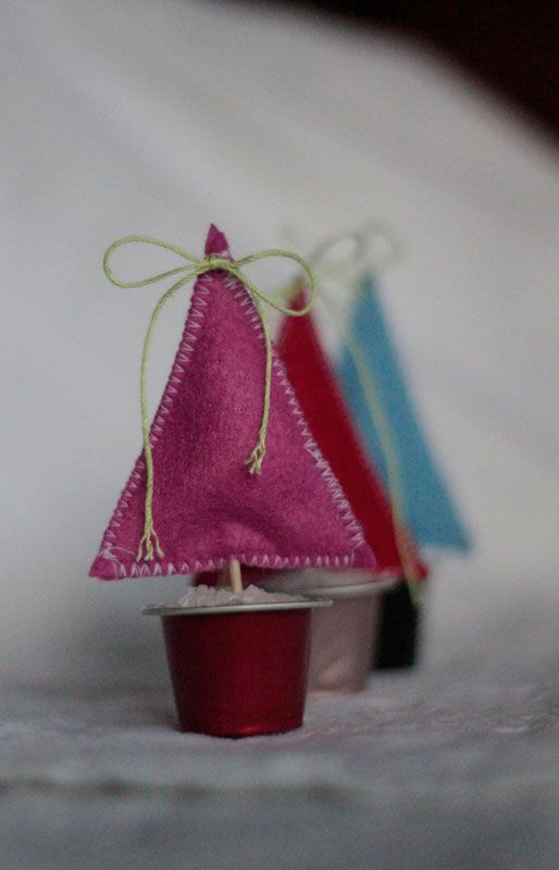 Cute way to use those little coffee or creamer containers!