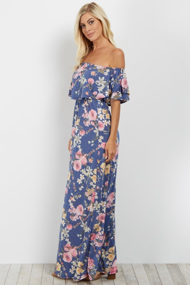a35058779 Blue Floral Off Shoulder Maxi Dress in 2019